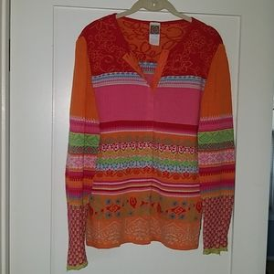 Oilily MultiColor Snap Up Sweater - Med